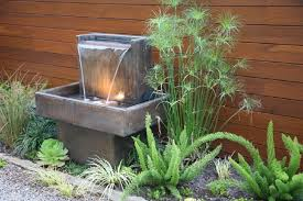 water fountain without pump for unique small garden ideas