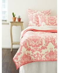 cotton quilts queen size. Unique Quilts Dalilah Damask Coral Pink Cotton Quilt King Cottage Home In Quilts Queen Size L