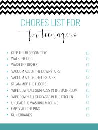 Chore Lists For Teens Particular Chore List For Tweens Chore List For Teens