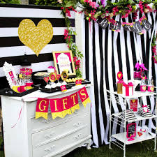 modern black and white striped bridal shower