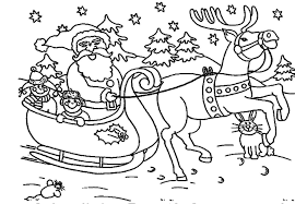 Small Picture Christmas Coloring Pages Santa And Reindeer Coloring Pages