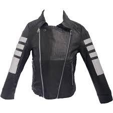details about uk boys leather look jacket black white genuine biker style coat kids zip buckle