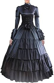 By the end of the era. Amazon Com Partiss Women Bowknot Stand Collar Gothic Victorian Dress Costumes Xxl Black Clothing