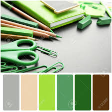office color palette. Office Color Palette. Palette And Green Supplies On Wooden Background Stock Photo - O