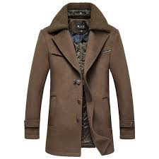 winter fur collar wool casual trench coat single ted slim fit jacket for men
