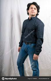 young indian male model wearing black shirt stock photo