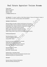 Resume Templates Real Estate Appraiser Traineeleles Examples