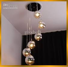 fumat modern semi chrome mirror ball chandelier living room loft pendant lights suspension hanging light office chandelier light modern hanging light