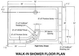 doorless shower dimensions glass block shower walk in floor plan stuff master intended for dimensions decorations