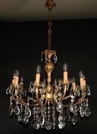 antique french chandelier large 10 arm vintage brass ceiling light ref got27
