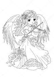 Kleurplaat Pagina The Angel Speelt Op De Viool Stockfoto