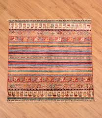 stunning handmade fine afghan khorjin square rug with vibrant multi colour theme of stripes and