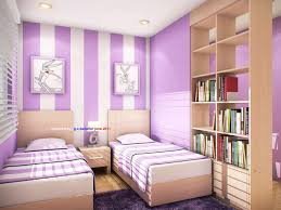 Interior:Stunning Small Purple Bedroom Interior Design Ideas With Cream  Bedding Sets Also Purple Painted