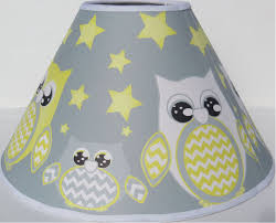 description grey and yellow owl lamp shade children s