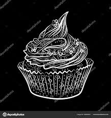 Cupcakes Isolated On Black Background Vector Illustration Stock