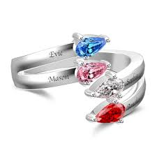 <b>Personalized Birthstone</b> Promise <b>Ring</b> with <b>Engraving</b> Silver