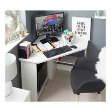 Captivating Corner Computer Desk White Wooden Small Table Study Workstation Laptop  Desktop