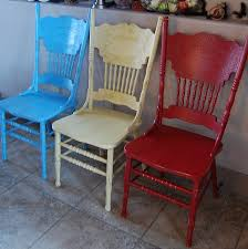 oak pressback chairs pressed back chairs i tried chalk paint on the yellow chair i