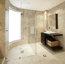clear glass shower enclosure travertine tile preview