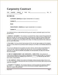 Carpentry Contract Template Resume Samples Examples Examples Of