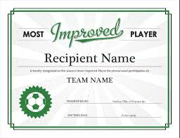 Most Improved Player Award Certificate