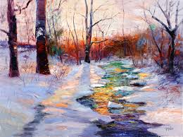 high chroma painting phillip s mill creek in winter 36x48 by michael harding ambassador george gallo