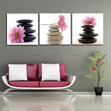 wall art picture 3 panel large modern canvas oil painting art pink lotus flowers and stone on lotus panel wall art with wall art picture 3 panel large modern canvas oil painting art pink