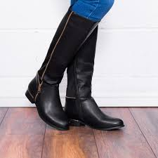 love provence zip flat stretch knee high tall boots black leather style