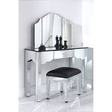 Mirrored Glass Bedroom Furniture Classic White Stained Wooden Mirrored Dressing Table With 3