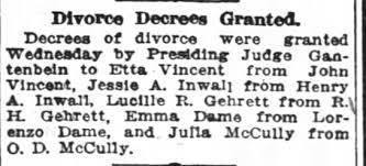 John Vincent divorce from first wife Etta - Newspapers.com