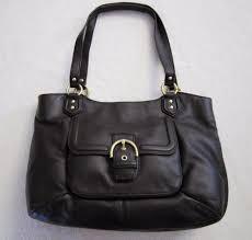 coach campbell leather belle carryall purse handbag brass mahogany f24961 nwt
