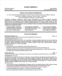 Construction Operation Manager Resume Sample Restaurant Resume 10 Examples In Pdf Word