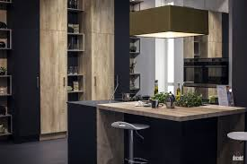 wooden breakfast bar small island gray stainless steel bar stools black cabinets rectangular pendant lights