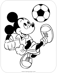 Coloring Page Of Mickeymouse Playing Soccer ミッキーマウス