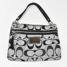 italy coach signature logo fabric patent leather purse 08690 7441e