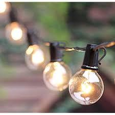 tiki lighting. 100Ft G40 Outdoor Patio String Lights Set With Clear Globe Bulbs, UL List  For Commercial Decor, Old Fashion Tiki Backyard Pergola Garden Tiki Lighting .