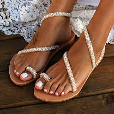 Online Shop TANGNEST <b>Summer Flat Sandals</b> Sweet Boho Pearl ...