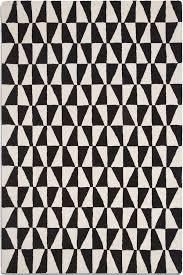 geometric rug triangular black white design