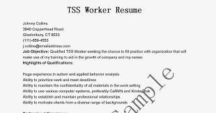 Tss Worker Sample Resume Resume Samples TSS Worker Sample shalomhouseus 2