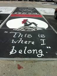 my cousin s parking spot at her school her brother painted it for her