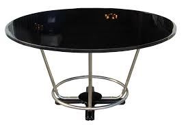 art deco round black lacquer and chromed steel dining table