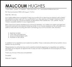 Examples Of Cover Letter For Resumes Custom Finance Assistant Cover Letter Sample Cover Letter Templates