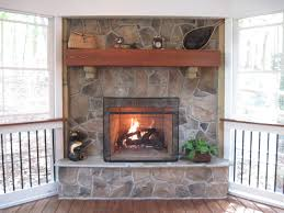 Interior:Charming Stone Gas Fireplace With Black Fence And Pallet Wooden  Flooring Ideas Always Warm