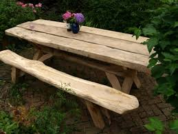 x leg table park rustic bench