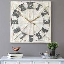 Large office wall clocks Pendulum White Rustic Farmhouse Wall Clock Kicksometerinfo Wall Clocks Clocks The Home Depot