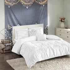intelligent design quinn 5 piece white full queen solid duvet cover set