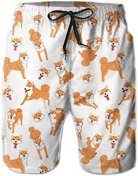 Ladkingq Mens Beach Shorts Shiba Inu Dog Pattern ... - Amazon.com