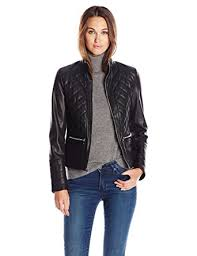 Kenneth Cole Women's Faux Leather Quilted Jacket at Amazon Women's ... & Kenneth Cole Women's Faux Leather Quilted Jacket, Black, X-Small Adamdwight.com