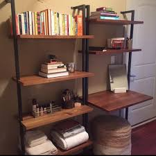 cb2 helix 70 acacia bookshelf and desk