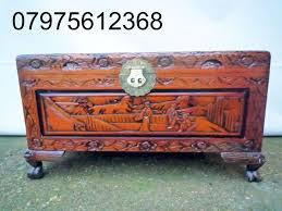 320 vintage oriental wood carved trunk chest toy storage blanket